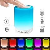 Nachttischlampe mit Bluetooth Lautsprecher, Elecstars LED Tischlampen Stimmungslicht Dimmer und Touch Funktion mit 7 Farbwechsel für Kinder Jungen Kinderzimmer Romantische Geschenke USB