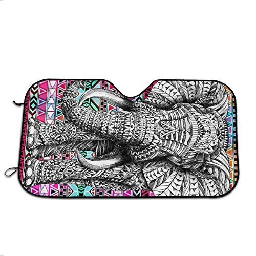 FATHYU Parasol para Parabrisas con diseño de Elefante en Fondo Colorido, bloquea los Rayos UV, Resistente al Agua, fácil de Instalar, con Correa, Protege tu Coche de Altas temperaturas