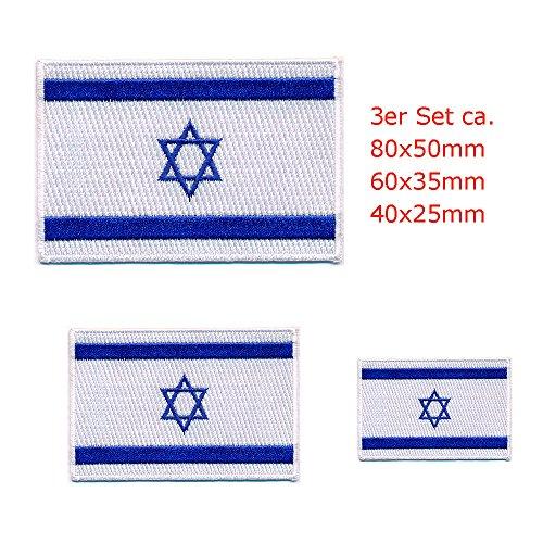 Israel Flag Patch (3 Israel Flaggen Flags mit Davidstern - Jerusalem Patch Aufnäher Aufbügler 0644)