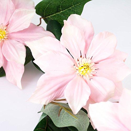 artplants – Deko Clematiszweig, rosa-weiß, 83 cm – Kunstblumen/Clematis künstlich