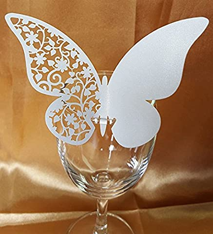 DIKETE® 50pcs Butterfly Place Cards Party Wedding Wine Glass Cup Decoration card [3D] [Hollow Pattern] Postcards Wall Decals Sticker for Christmas Engagement Birthday Favor [White 3] + 60pcs Glue - Greeting Laser Cards