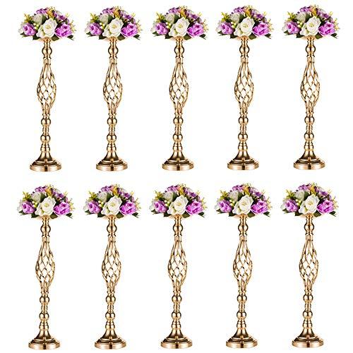 Wedecor Satz von 10 Vielseitigen Metall-Blumen-Arrangement-Ständer & Stumpen-Kerzenhalter-Set für Hochzeitsfest-Dinner Herzstück Event Restaurant Hotel Dekoration