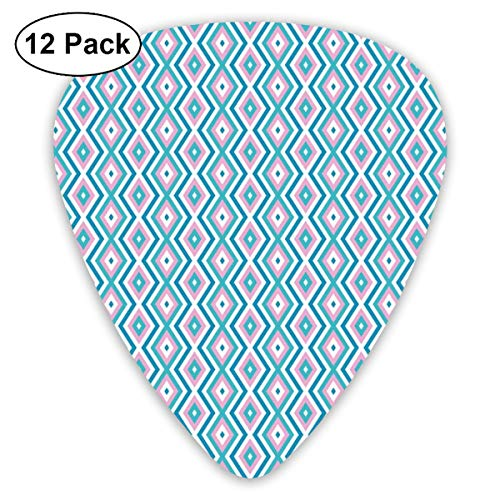 Celluloid Guitar Picks - 12 Pack,Abstract Art Colorful Designs,Continuous Pattern With Nested Rhombuses Sweet Lines,For Bass Electric & Acoustic Guitars. (Neon 16 Sweet)