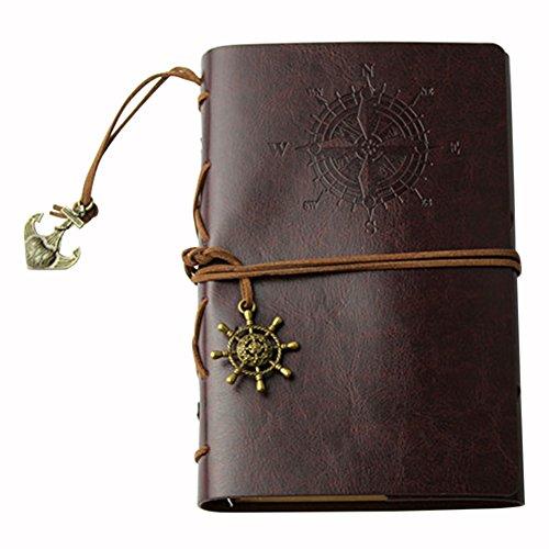 Notizbücher Student,iSpchen Retro Kreative Notizbücher Notepad Pirate Straps Männer Frauen Nautical Leder Tagebuch Memo Notizbücher Kaffee