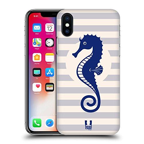 Head Case Designs Ancora Senza Peso Nautico - Stampe Cover Retro Rigida per Apple iPhone X Cavalluccio Marino A Strisce