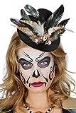 shoperama Voodoo Mini Conos con Calaveras Brillantes y Plumas Negro/marrón Sombrero Halloween Disfraz