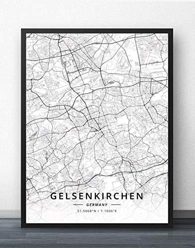 NBHHDH Leinwand Bild,Nordic Deutschland Gelsenkirchen Stadt Drucken Schwarz Weiß Einfache Wort Poster Leinwand Gemälde An Der Wand Bild Für Cafe Wohnzimmer Home Die Einrichtung Kinder Zimmer
