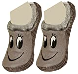 #7: Neska Moda Premium Smily Soft Cotton & Fur Women's Grey Booties Cum Indoor Slippers-Toe To Heel 24 CM Length-Lightweight Daily Wear