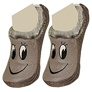 Neska Moda Premium Smily Soft Cotton & Fur Girl's Booties Cum Indoor Slippers