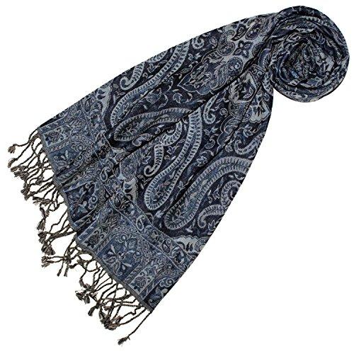 LORENZO CANA - Luxus Damen Schal aus weicher Wolle aufwändiges Paisley Muster bunt mehrfarbig 35 x 160 cm Wollschal Wolltuch Damenschal Damen 78400