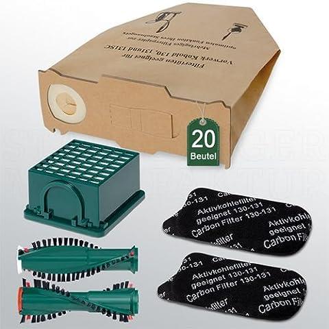 Sparset 20 Staubbeutel Filterset Bürsten passend für Vorwerk Kobold VK 130 131