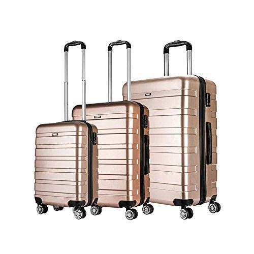 AMASAVA Set of Tres Maletas,Juego de Maletas Rígidas,Candado TSA,43L/65L/101L,ABS+PC,4 Ruedas multidireccional,Oro Rosa