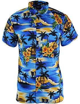 JBC Camicia Estiva da Uomo Stile Hawaiano Floreale a Maniche Corte e a Bottoni