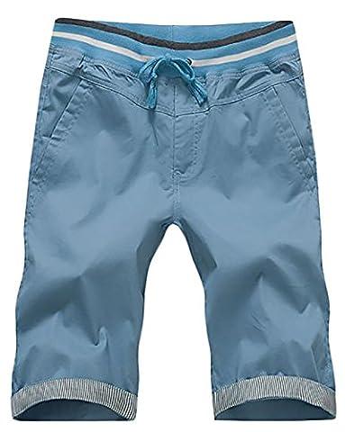 Fulok Mens Drawstring Splice Baggy Knee Length Beach Pants Small Sky Blue
