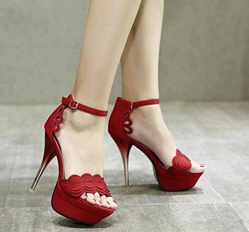 Beauqueen Piattaforme da piattaforma da sposa Stiletto tacco alto ondulata ondulata modello cinghie di caviglia donne Hollow Hollow Sandali Peep Toe antisdrucciolo Wearable femminile Bar Party OL sand Red