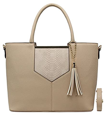 CRAZYCHIC - Women Top-handle Bag - Tote handbag - With Python snake embossed and Gold Keychain Pompom - Imitation Saffiano leather - Lady work bag - Girl School bag - Elegant style - Taupe