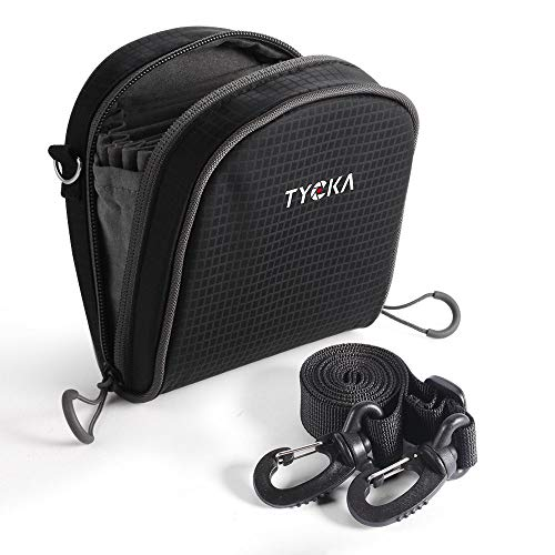 TYCKA Filter Tasche für Filter bis 86 mm, mit Gürtelschlaufe, herausnehmbares Innenfutter, wasserdichte und staubdicht mit verstellbarem Schultergurt, Schwarz