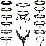 Rovtop 15 Stück Choker Halsketten Set Gummi Halsband Tattoo-Kette Schmuck-Sets Damen-Schmuck Velvet Halskette Tattoo Halsband Schwarz