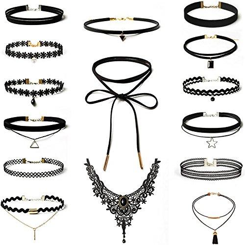 Rovtop 15 Stück Choker Halsketten Set Gummi Halsband Tattoo-Kette Schmuck-Sets Damen-Schmuck Velvet...