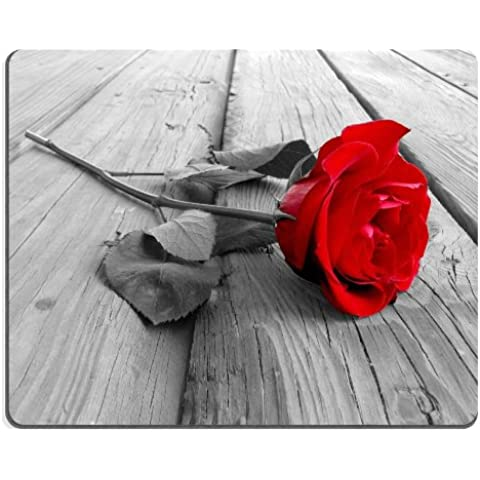 Red Rose Front and Center Mouse Pads Customized Made to Order Support Ready 9 7/8 Inch (250mm) X 7 7/8 Inch (200mm) X 1/16 Inch (2mm) High Quality Eco Friendly Cloth with Neoprene Rubber MSD Mouse Pad Desktop Mousepad Laptop Mousepads Comfortable Computer Mouse Mat Cute Gaming Mouse_pad