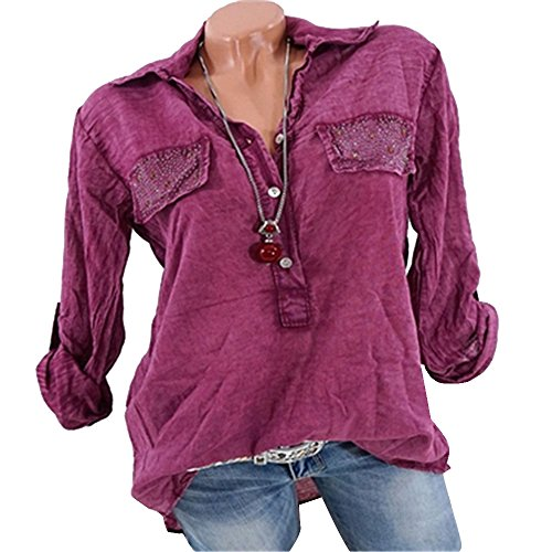 Vertvie Femme Chemisier Manches Longues Top Blouse Shirt Casual Col Revers Rouge Vineux