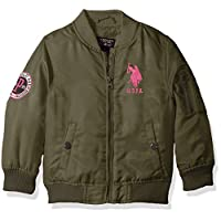 US Polo Association Baby Little Girls' Fashion Outerwear Jacket (More Styles Available), Flight-UA64-Olive Night, 5/6