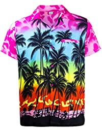 King Kameha | Funky Chemise Hawaïenne | Hommes | XS - 12XL | Manche-Courte | Poche-Avant | Hawaiian-Imprimer | Plage Palmiers | couleurs variées