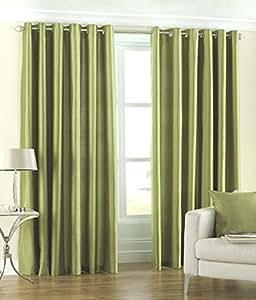 Obro Set of 2pc Premium Solid Fancy Elegant Ringtop Plain Polyester Eyelet 9ft Long Door Curtains - Green
