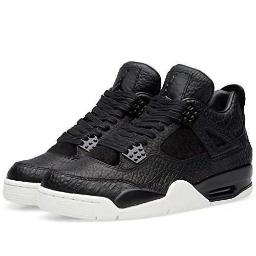 Nike Herren Air Jordan 4 Retro Premium Turnschuhe Schwarz / Grau (Schwarz / Schwarz-Segel)