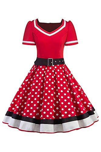MisShow Damen 50er Jahre Kleidung Damen Rockabilly Kleid Polka Dots Vintage Kleider Tellerrock Rot 3XL