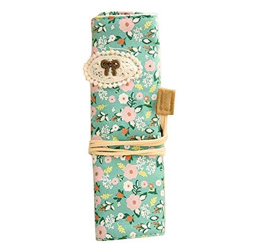 fablcrew Bleistift-Handtasche Große Kapazität Rolle von Schreibwaren Taschen 19.4*6.5cm grün
