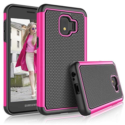 T-mobile Dash-serie (Schutzhülle für Galaxy J2 Core Samsung J2 Dash / J2 Pure / J260 für Mädchen, Tekcoo [Tmajor] Stoßdämpfendes Gummi-Silikon & Kunststoff Kratzfest Bumper Griff niedliche stabile Hartschale, Rose)