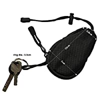 GEZICHTA Nylon Mini Outdoor EDC Carrying Bag,Portable Travel Coins Purse Change Wallet Key Pouch with Inner Stainless Key Ring (Black)