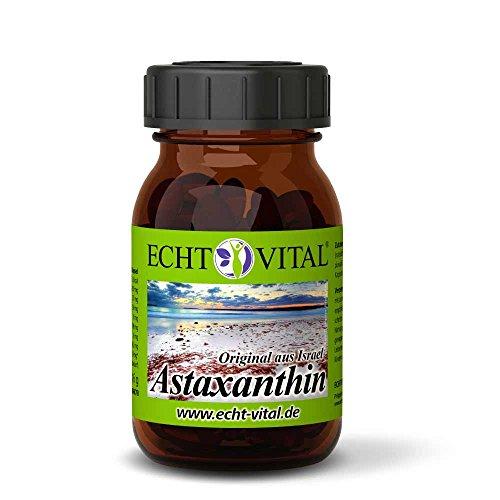 Echt Vital Astaxanthin - 4 mg / Softgelkapsel - 1 Glas = 120 Stück / 100 % natürliches Extrakt aus der Grünalge Haematococcus pluvialis