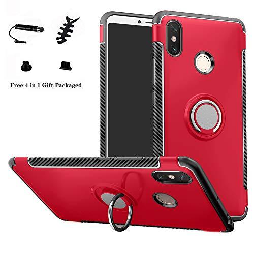 LFDZ Xiaomi Mi MAX 3 Anillo Soporte Funda 360 Grados Giratorio Ring Grip con Gel TPU Case Carcasa Fundas para Xiaomi Mi MAX 3 Smartphone(con 4 en 1 Regalo empaquetado),Rojo