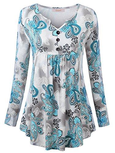WAJAT Damen Langarmshirt Henley V-Ausschinitt Vintage Basic Grün Blumen XL (Dye Tie Damen Grüne T-shirt)