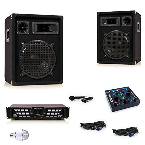 1200W PA-casse sistema amplificatore USB MP3 mixer RGB LED discoteca luce DJ uragano del partito