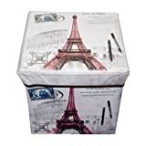 #9: Puffy Portable & Foldable Laundry Box Cum Sitting Stool Folding Paris Print Pouffe, Sitting Stool, Stool,Pouffes for Living Room, Puffy Stool (Multi Color)