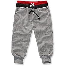 Tongshi Pantalones de chándal deporte de los hombres pantalones cortos holgados del Harem de baile activan los pantalones de entrenamiento (Gris, XXL)