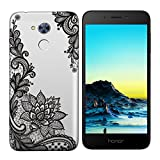Coque Huawei Honor 6A,Huawei Honor 6A Etui TPU,ZHXMALL Premium Flexible Souple Silicone Ultra Mince Lége Transparent Case Slim Gel Couverture Housse Protection Anti rayures AntiChoc Pare-chocs Coque pour Huawei Honor 6A - Fleur noir