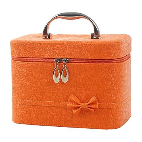 Mignon bowknot Sacs cosmétiques Maquillage Box Maquillage Sacs, Orange