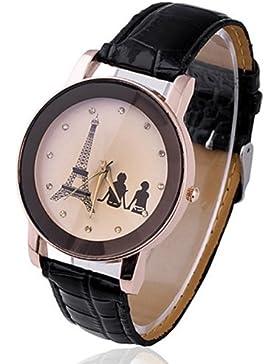 Eiffelturm Liebespaar Damenuhr Damen Herren Analog Uhr Quartz Armbanduhr Schwarz