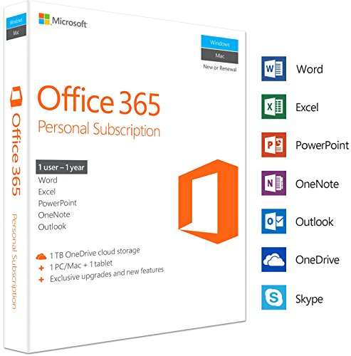 MS Office 365 Personal Mac/Win Subscription P2 EuroZone Medialess 1Year English (EN) (Office 365-microsoft Personal)