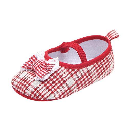 JERFER Neugeborene Baby Mädchen Prinzessin Schuhe Bogen Doppelt Plaid Weiche Single SchuheLässige Schuhe Krippe Krabbel Schuhe 3-12 Monat (9~12 Month, Rosa)