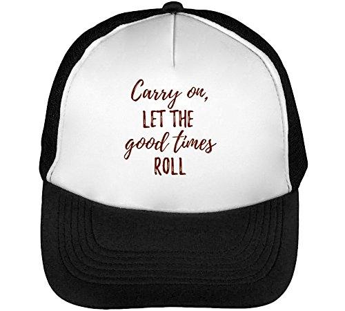 Let The Good Times Roll Men's Baseball Trucker Cap Hat Snapback Black White -