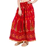 Decot Paradise Women's A-Line Skirt (SKT313_Red_Free Size)