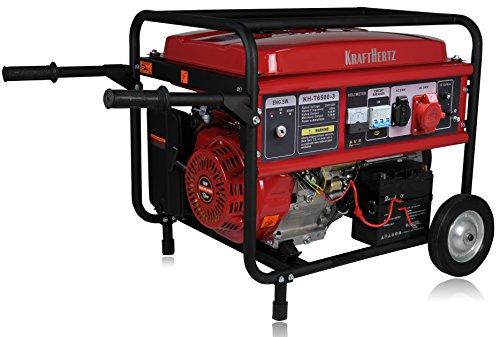 KraftHertz - Benzin Stromerzeuger Notstrom Aggregat Stromgenerator 5,5 KW mit Starkstrom 230+400V