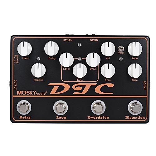 ammoon 4-in-1 Distorsion pédale d'effet guitare électrique + Overdrive + Loop + Delay MOSKY DTC