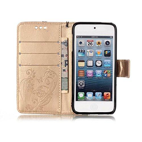 iPhone Case Cover Prime synthétique Housse en cuir PU Case gaufrage papillon Fleurs avec Wallet et Béquille pour iPod Touch5 6 ( Color : Brown , Size : IPod Touch5 6 ) Gold