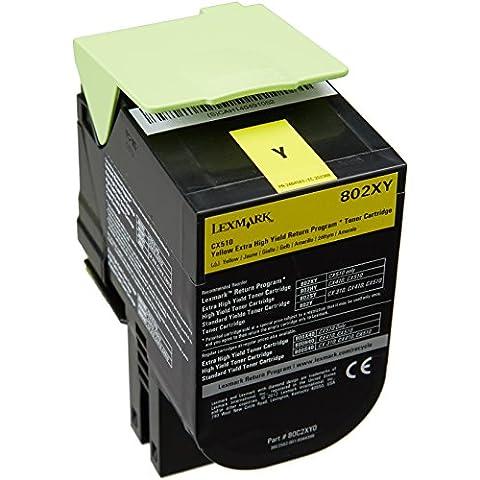 Lexmark 802XY - Tóner para impresoras láser (Amarillo, Laser, Lexmark CX510de Lexmark CX510dhe Lexmark CX510dthe, 141 x 102 x 72 mm)